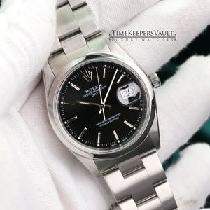 Rolex Date Size Black Dial 34mm Watch